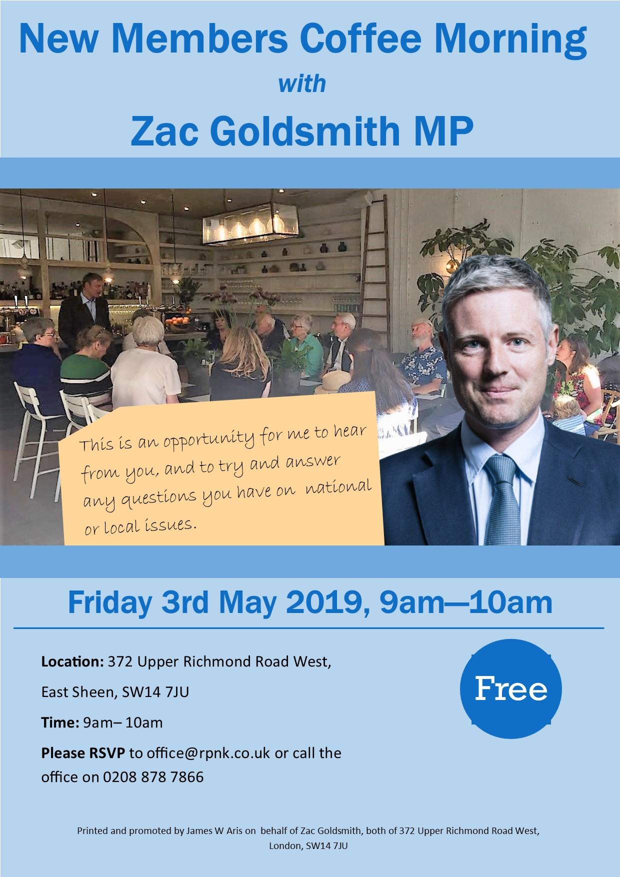New Members Coffee Morning with Zac Goldsmith MP | Richmond