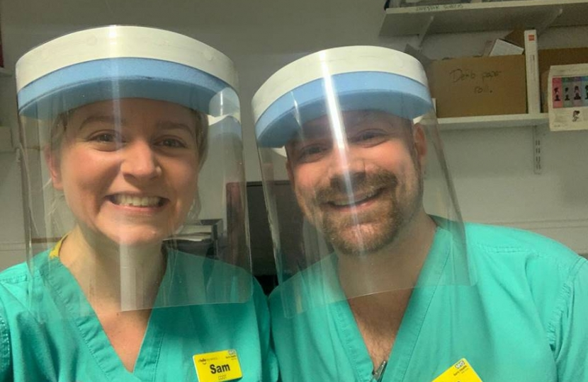 Nurses in visors